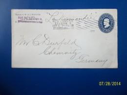 USA: 1899 Postal Envelope To Germany (#CA2) - ...-1900