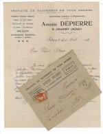 FACTURE + ENV 1913 TRAVAUX DE BATIMENT AMEDEE DEPIERRE JALIGNY ALLIER 03 COUVERTURE ARDOISE - France