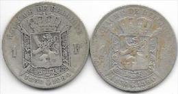 BELGIQUE - LOT DE 2 PIECES DE 1 FRANCS - 1830-1880 - Léopold 1er - ARGENT - 1831-1865: Léopold I