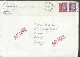 Hong Kong Airmail Hong Kong 1992 -97 QE II Definitive $2.10, $1.10 Postal History Cover Sent To Pakistan - Covers & Documents