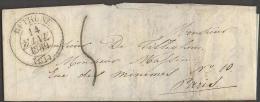 Lettre Précurseur De Béthune (Pas De Calais) Vers Paris Datée Du 14 Janvier 1839 - Marcophilie (Lettres)