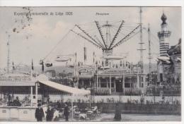 BELGIQUE -CARTE OFFICIELLE EXPOSITION UNIVERSELLE DE LIEGE - 1905 - MANEGE AEROPLANE  BRASSERIE AU 1ER PLAN - Belgique