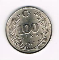 *** TURKIJE  100  LIRA   1987 - Turquie