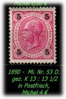 �sterreich - 1890 - Mi. Nr. 53 D, gez. Kz. 13 : 13 1/2