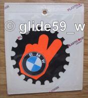 """Autocollant """"BMW"""" (Plastic Screen - Italy) (années 70 - Fond Noir Mat Et Orange Mat Fluo) - Stickers"""