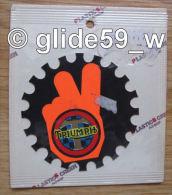 """Autocollant """"TRIUMPH"""" (Plastic Screen - Italy) (années 70 - Fond Noir Mat Et Orange Mat Fluo) - Stickers"""
