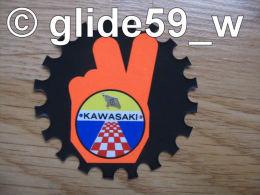 "Autocollant ""KAWASAKI"" (Plastic Screen - Italy) (années 70 - Fond Noir Mat Et Orange Mat Fluo) - Stickers"