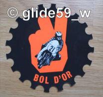 """Autocollant """"BOL D'OR"""" - Grand Format (Plastic Screen - Italy) (années 70 - Fond Noir Mat Et Orange Mat Fluo) - Stickers"""