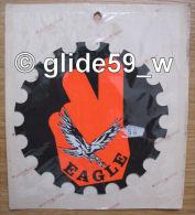 """Autocollant """"EAGLE"""" - Grand Format (Plastic Screen - Italy) (années 70 - Fond Noir Mat Et Orange Mat Fluo) - Stickers"""