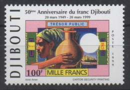 Djibouti Dschibuti 1999 Mi. 677 ** Neuf MNH 50e Anniversaire Du Franc Djiboutien Mille Francs Paper Money RARE ! - Gibuti (1977-...)