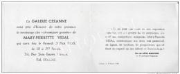 GALERIE CEZANNE CANNES 1958 MARY PIERRETTE VIDAL Vernissage Céramiques Gravées - Faire-part