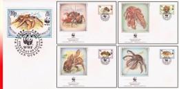 WWF Britisch Territory 4 FDC Crustacés - Crustaceans