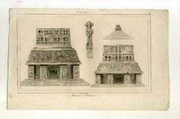 - GUATEMALA . MAISONS A PALENQUE . GRAVURE SUR ACIER DU XIXe S . - Archéologie