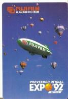 CALENDARIO DEL AÑO 1991 DE UN TELEDIRIGIBLE Y GLOBOS (CALENDRIER-CALENDAR) GLOBO-BALLOON- EXPO´92 SEVILLA-FUJI FILM - Tamaño Pequeño : 1991-00