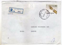 Yugoslavia Slovenia Ljubljana Registered Letter Via Skopje Macedonia.stamp 1990.- The Fight Against Smoking - 1945-1992 République Fédérative Populaire De Yougoslavie