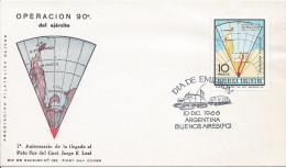 Antarctique Premier Jour Timbre Opération 90° Pôle Sud 10/12/1966 Buenos Aires Véhicule Chenille Traîneau - Lettres & Documents