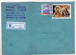 Yugoslavia Slovenia Maribor Registered Letter Via Skopje Macedonia.stamp 1990.- Religion,church - 1945-1992 République Fédérative Populaire De Yougoslavie
