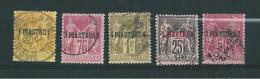 Timbres Du Levant De 1885  N°1 A 5 Oblitérés Tres Beaux  (cote 56€) - Oblitérés