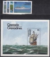 Grenada Grenadinen MiNr. 611/14 + Bl. 82 ** Schiffe - Grenade (1974-...)