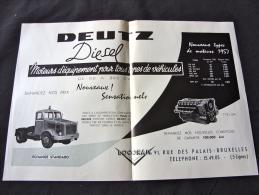 Publicité Moteur Camion Engin De Chantier Deutz - Camions