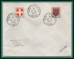 Bureau Temporaire Foire Exposition Tarbes 22/5/ 1952 / N° 836 + 838 Blason - Poststempel (Briefe)