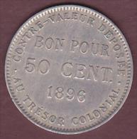 ILE DE LA REUNION . Bon Pour 50 CENTIMES 1896 . Cupro Nickel. Superbe - Réunion