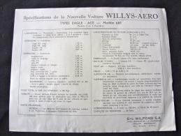 Specification De La Willys Aero Types Lark Et Aero Types Eagle Ace Modèle 685 - Voitures