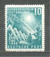 1949 GERMANY 10 PFG. BUNDESTAG MICHEL: 111 MH * - Unused Stamps
