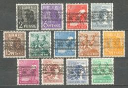 1948 GERMANY BAR SHAPE OVERPRINTS MICHEL: 36-38, 40-45, 47, A49-51I MNH ** / MH * - Unused Stamps