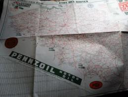 Carte Du Royal Automobile Club De Belgique-état Des Routes 1952 - Cartes
