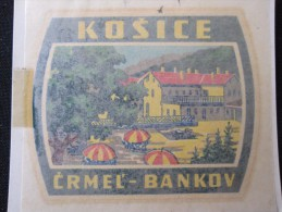 HOTEL CAMPING MOTEL KOSICE CRMEL BANKOV CSSR CSR SLOVAKIA JUGOSLAVIA LUGGAGE LABEL ETIQUETTE AUFKLEBER DECAL STICKER - Hotel Labels
