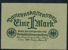 GERMANY P61   1  MARK  15.9.1922    XF - 1 Mark