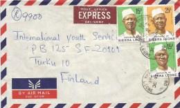 Sierra Leone 1981 Bo President Siaka Stevens 15c 25c Registered Express Cover - Sierra Leone (1961-...)