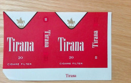 Old Empty Flattened Cigarette Pack TIRANA - Albania 1980´s - Schnupftabakdosen (leer)
