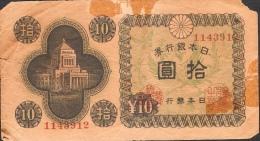JAPAN  P87  10  YEN   1946  Corner Missing VG - Japon