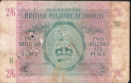 UNITED KINGDOM PM3  2 SHILLINGS 6 PENCE  Letter B   ND FINE - British Military Authority