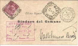 MONTEVARCHI (AREZZO) BOLLO TONDO RIQUADRATO DELLA TOSCANA SU DOCUMENTO COMUNE - Marcofilía