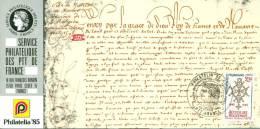 021 Carte Officielle Exposition Internationale Exhibition Philatelie 1985 France FDC Accueil Des Huguenots Religion