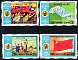 (43) Burma / Birmanie  Congress 1971 / Congres / Flags / Drapeaux / Flaggen  ** / Mnh  Michel 222/25 - Burma (...-1947)