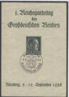 Deutsches Reich Michel No. 672 gestempelt auf Gedenkblatt 1. Reichsparteitag / b�gig, minimal eingerissen