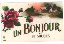 Cpa Fantaisie : Un Bonjour De Souges ( Roses, écrite Par Un Militaire ) - France
