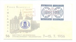 FINLANDIA 1956, COAT OF ARMS, PAIR ON FDC - Sobres