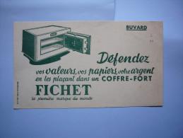 Buvard Publicitaire  Coffre Fort Fichet Défendez Vos Valeurs, Papiers, Argent .... - Buvards, Protège-cahiers Illustrés