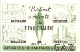Buvard GAZ Partout à Volonté De L'Eau Chaude Grace Aux Appareils Instantanés à GAZ Des Années 1960 - Electricité & Gaz