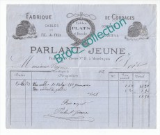Montluçon, Fabrique De Cordages Parlant Jeune, Cables, 15, Faubourg Saint-Pierre, Facture 1872 - France
