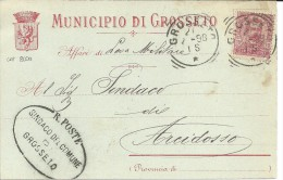 GROSSETO  (GROSSETO) - BOLLO TONDO RIQUADRATO DELLA TOSCANA SU C.P. INTESTATA AL MUNICIPIO DI GROSSETO - Marcofilía