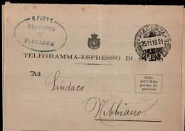 1919 PIACENZA ANNULLO FRAZIONATO ARRIVI E PARTENZE
