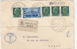 83100 F - 5 TP, Tarif 2L25, Cad ROMA 22 VIA DELLA CROCE 12 1931 REC Pour La France TB - 1900-44 Vittorio Emanuele III