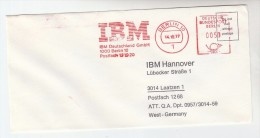 1977 GERMANY  COVER METER SLOGAN Pmk IBM BERLIN To IBM Hannover Computing - Computers