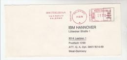 1978 ITALY COVER METER SLOGAN Pmk IBM ITALIA PALERMO To IBM Germany  Computing - Computers